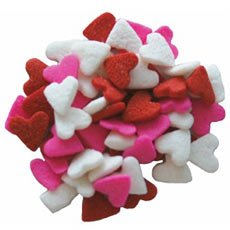Valentine Red, White & Pink Heart Shapes Edible Sprinkles