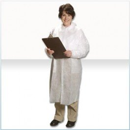 Alpha Pro Tech Critical Cover LC-12421-4 GenPro Lab Coat, Tapered Collar, Elastic Wrist, No Pockets, Snap Close, Serged Seams, White, XL Size (Case of 25) ()
