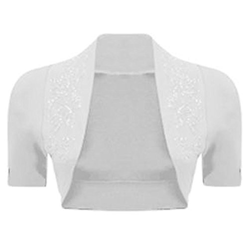 Cap Sleeve Cotton Sweater (Janisramone women shrug cap sleeve beded cotton ribbed neckline bolero)