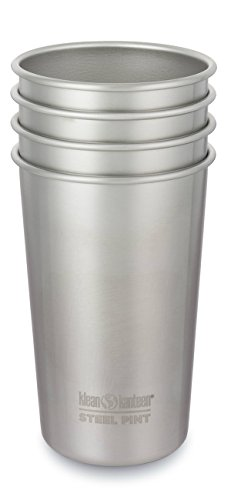 (Klean Kanteen Single Wall Stainless Steel Cups, Pint Glasses 4 Pack in 20oz)