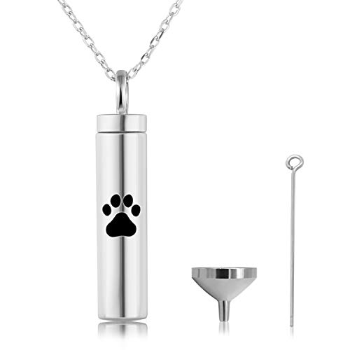 925 Sterling Silver Urn Pendant Necklaces for Ashes Dog Pet Paw Print-Cremation Jewelry Keepsake Memorial (Dog paw Print Vertical urn Necklace)