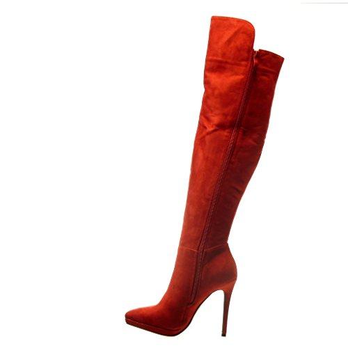 Angkorly - Zapatillas de Moda Botas Botas Altas stiletto sexy mujer strass Talón Tacón de aguja alto 11.5 CM - plantilla Forrada de Piel - Rojo