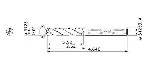 Internal Coolant 7.938 mm Cutting Dia 1.4 mm Point Length 5 Hole Depth 8 mm Shank Dia. Mitsubishi Materials MVS0794X05S080 Series MVS Solid Carbide Drill