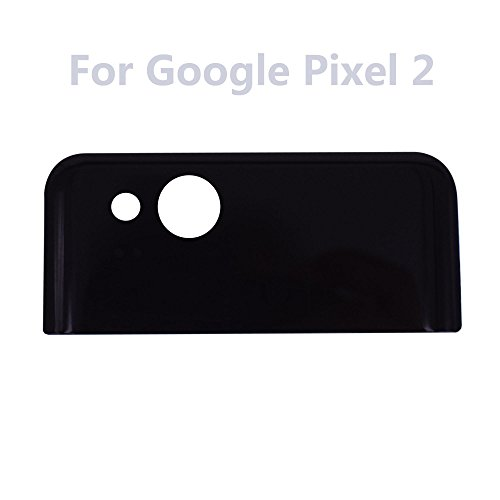 Dogxiong Black For Google Pixel 2, Back Rear Battery Housing Top Upper Part Really 100% True Genuine Glass Camera Lens Cover + Adhesive Fix Replacement Parts