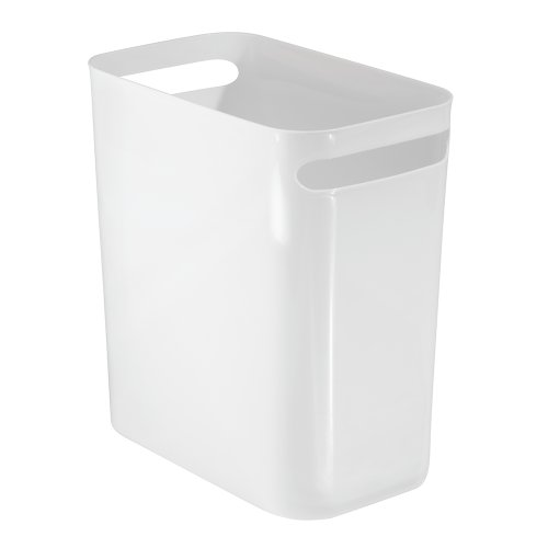 "InterDesign Una Wastebasket Trash Can 12"", White"