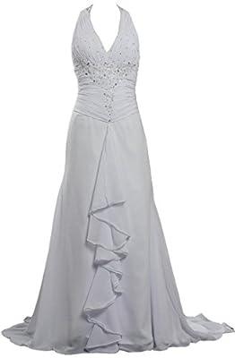 ANTS Women's Halter Simple Beach Wedding Dresses Backless
