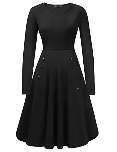 f0dc13cfaba Mavis Laven Women s Vintage O Neck Long Sleeve Evening Party Swing Dress