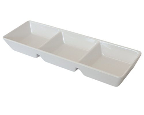 (Set of 12) Amatahouse 3 Compartment Sauce Dish Sushi Wasabi Plates Soy Sauce Dipping Bowls FW/SW Melamine, Cream 7.5 inch #D2663/D663 (Pottery Barn Butter Dish)