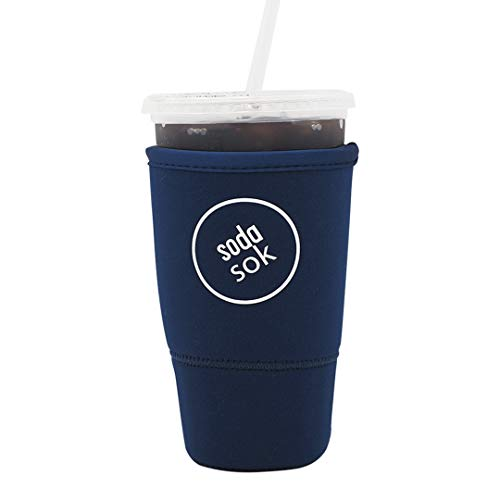 Mcdonalds Cup - SODA SOK Reusable Drink Sleeve - Insulated Neoprene Sleeve for Iced Fountain Drinks and Soda Cup Sleeve | Ideal for Large 32oz Drink Cups (Midnight Blue)