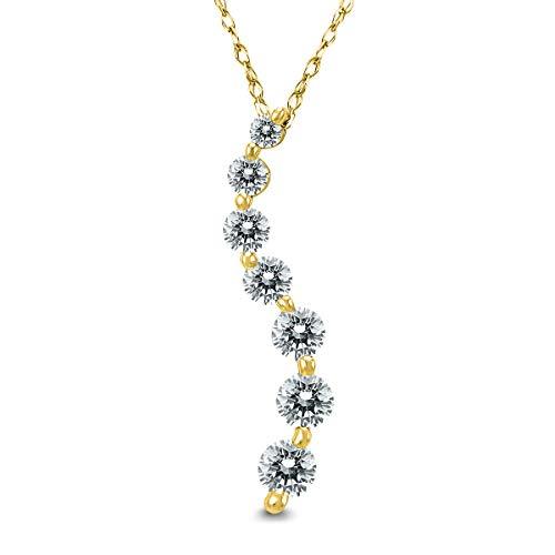Journey Pendant Diamond 1/2 Ct - AGS Certified 1/2 Carat TW Diamond Journey Pendant in 10K Yellow Gold (K-L Color, I2-I3 Clarity)