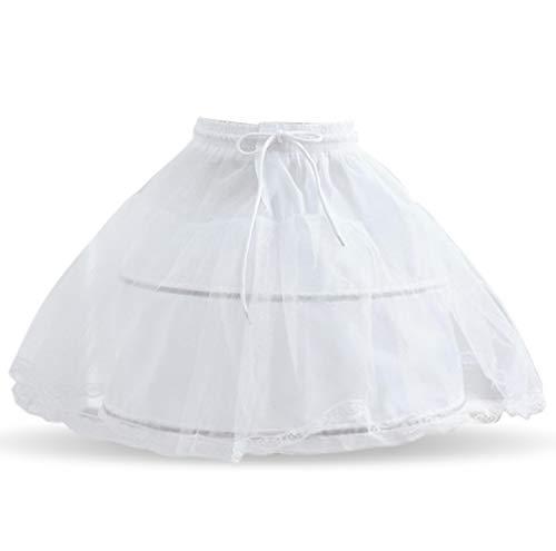 TTYAOVO Girls 2 Hoops Petticoat Crinoline Flower Half Slip Girl Underskirt White]()
