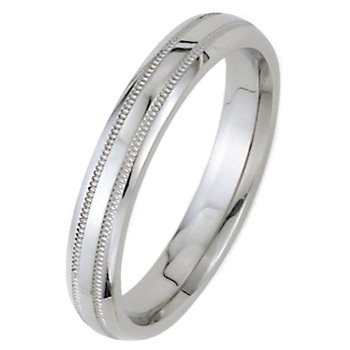 Wedding Bands; Platinum Men`s and Women`s Dome Park Ave Wedding Bands 4mm Wide Comfort Fit