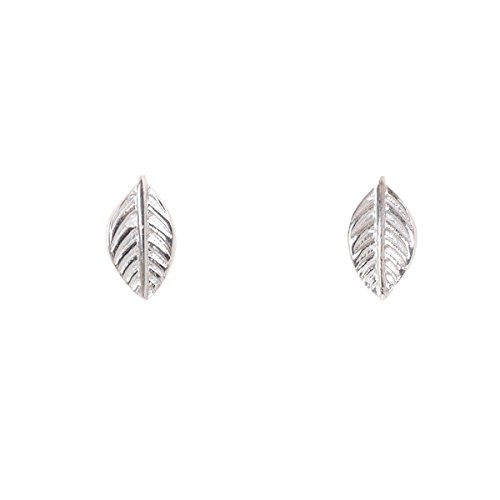 Humble Chic Tiny Leaf Studs - 925 Sterling Silver Delicate Post Earrings, Single Leaf, Hypoallergenic