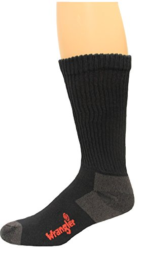Wrangler Men's Over the Calf Cotton Work Boot Sock (Pack of 2), Large, ()