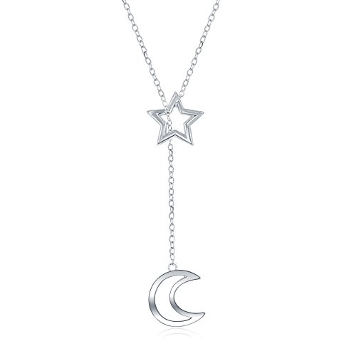 Beaux Bijoux 925 Italian Sterling Silver Star and Dangling Crescent Moon Lariat Y 16+2
