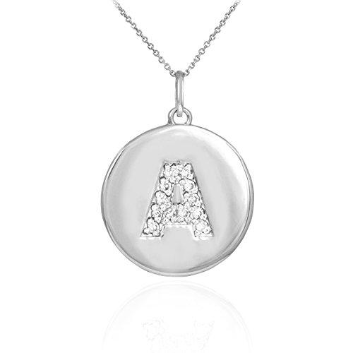 "10 ct 471/1000 Or Blanc Initiale ""A"" Initiale Diamant-Disc-Pendentif Collier"