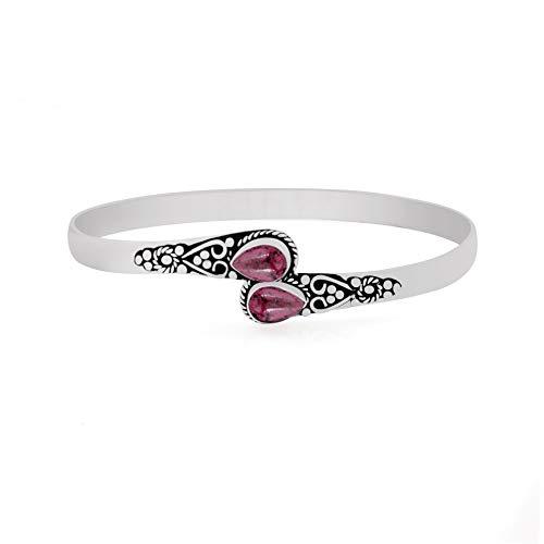 925 Silver Plated Garnet Cuff Bangle 2 Stone Handmade Vintage Boho Style Jewelry for Women - Bangles Silver Garnet Sterling