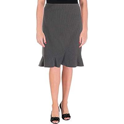 Tahari ASL Womens Pinstripe Ruffled A-Line Skirt