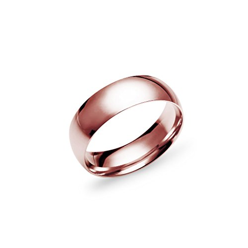Silverline Jewelry Wedding Band Ring for Men 6mm Stainless Steel Rose Gold Tone Half Sizes 5 to 14 Colors Available