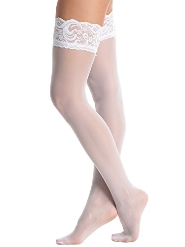 Amoretu Women's Sheer Over Knee Lace Silicone Top Thigh High Stockings (White)