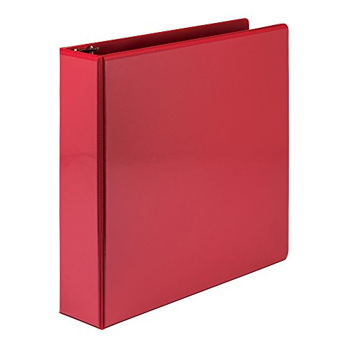 Samsill Economy 3 Ring Presentation View Binder, 2 Inch Round Ring - Holds 425 Sheets, Customizable Clear View Cover, Red