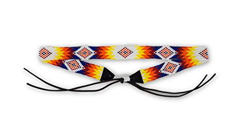 (Mayan Arts Hat Band, Hatbands, Cowboy, Western, Leather, Beaded, White, Yellow, Orange, and Blue Tones, Leather Ties, 7/8