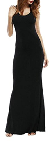 Neck Slim Domple Open Women Fit Sleeveless Black Scoop Maxi Back Dress Bodycon qw7wZ86
