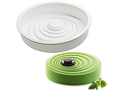 Molde de la galleta Moldes para Hornear Round Wave Silicona Herramientas para Hacer Pasteles (Blanco