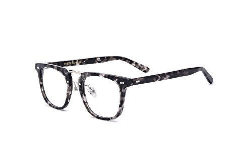 HEPIDEM Acetate 2018 Men Square Myopia Glasses Frame Eyewear Spectacles 7200 (Gray - Eyewear Johnny Depp