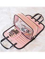 LNR Products Cosmetic Bag, Cosmetic Bag For Women, Travel Cosmetic Bag - Clear Cosmetic Bag For Woman, Multi-Functional, Small, Lightweight, Waterproof, Removable Pocket, PVC Plastic, Pink, Black
