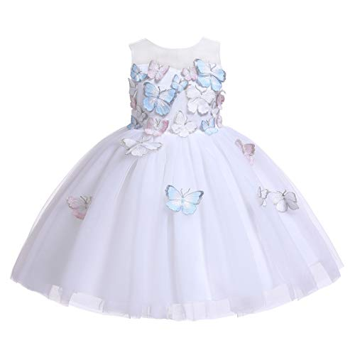 Glamulice Flower Girls Ivory Dress 3D Embroidery Butterfly Rainbow Tulle Princess Party Dresses 3-14Y (5-6Y, Ivory) ()