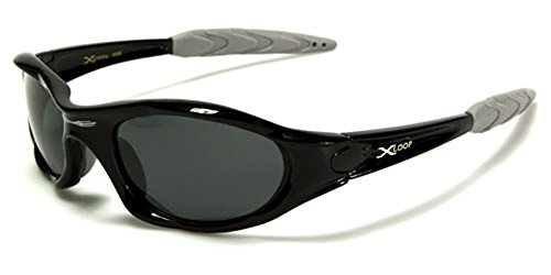 Polarized Xloop Sport Cycling Fishing Golf Wrap Around Running Sunglasses + Monogram Microfiber Pouch (Black)
