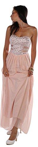 Maxi pastell Abendkleid Chiffon Rosa Strass w7SvwTf1