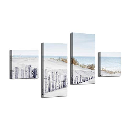 Beach Shores Picture Coastal Art: Sand Dune Fence at Sundown Artwork for Decor