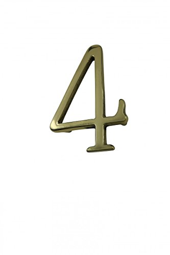 4' House Number - Bright Solid Brass 3