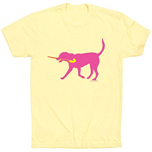 (ChalkTalkSPORTS Field Hockey Short Sleeve T-Shirt | Fetch the Field Hockey Dog | Yellow | Y)