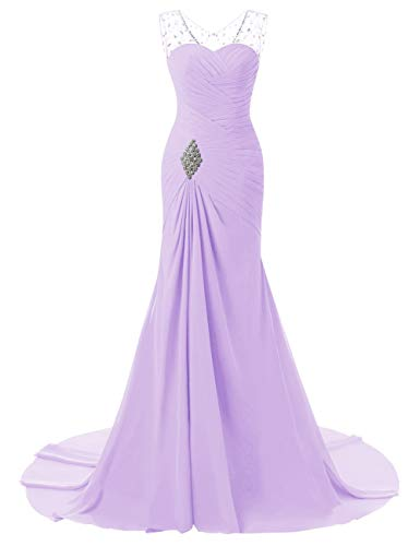Beaded Lilac Mermaid Evening Bess Lace Bridal up Chiffon Women's Formal Prom Dress qwfPXEfC