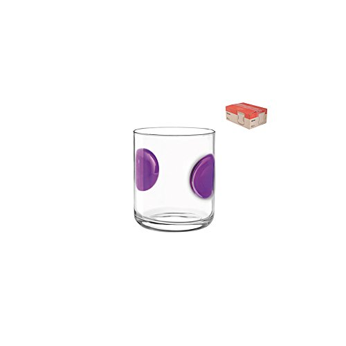 Bormioli Rocco 5146519 Jupiter in Bubble Glass Tumbler, 31 cl, transparent/purple Pengo