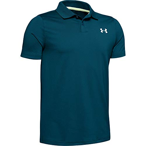 Under Armour boys Performance 2.0 Golf Polo, Teal Vibe (417)/Phosphor Green, Youth X-Large