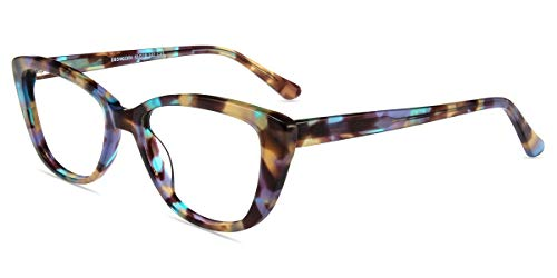 Firmoo Blue Light Blocking Computer Reading Glasses Vintage Cateye TR Plastic Pattern Frame for Women, for Contact ()