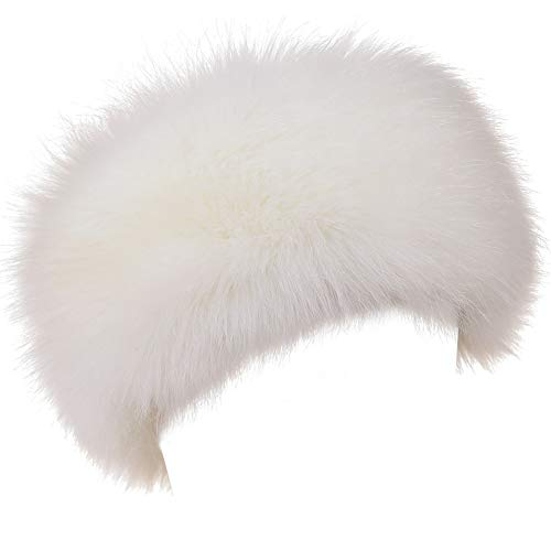 Dikoaina Womens Faux Fur Headband Winter Earwarmer Earmuff Hat Ski White