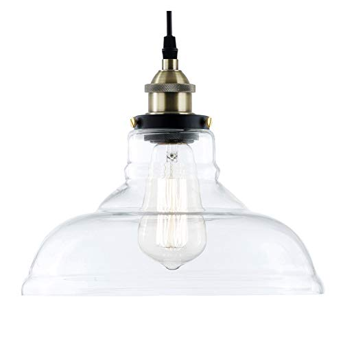- Light Society Classon Edison Pendant Light, Clear Glass Shade with Antique Brass Finish, Vintage Modern Industrial Lighting Fixture (LS-C171)