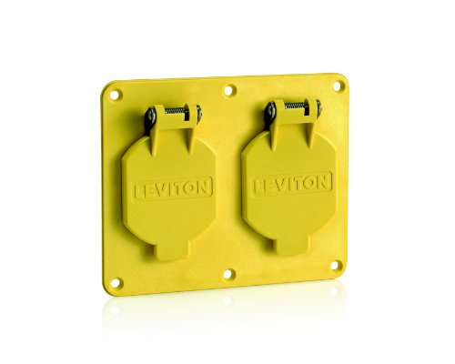 Leviton 3263W-Y 2-Gang, 1.56-Inch Diameter, Single Receptacle Coverplate, Weather-Resistant Flip Lid, Yellow