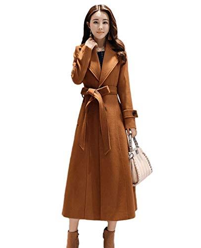 BoBoLily Trench Femme Mode Hiver Coupe Vent Poches Latrales avec Ceinture Spcial Style Revers Couleur Unie Longues Manteaux Style Moderne Manteau Manches Longues Caramel