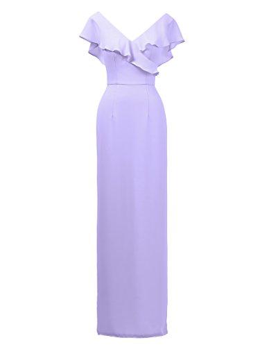 Alicepub V-cou Robe De Demoiselle D'honneur En Mousseline De Soie Robe De Bal En Soirée Longue Fête W / Lilas Volants