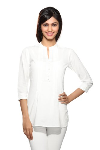 Women's Indian Kurti X- Small Off White by In-Sattva