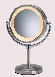 8 1 2 Quot Brushed Nickel Finish Halo Lighted Pedestal Makeup