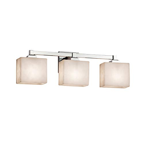 (Justice Design Group Lighting CLD-8433-55-CROM Justice Design Group - Clouds - Regency 3-Light Bath bar - Rectangle - Polished Chrome Finish with Clouds Shade,)