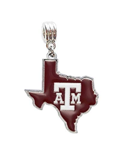 Heavens Jewelry Texas A&M University Charm Aggies Logo ON Texas State Charm Slider Pendant ADD to Your Necklace European Bracelet DIY Projects ETC.