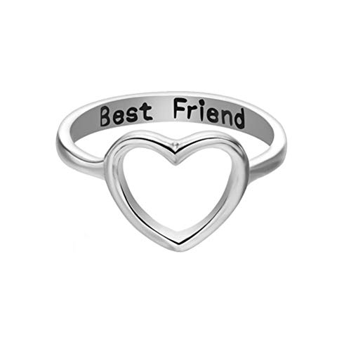Gold Silver Hollow Big Love Heart Lettering Best Friend Ring for Women Simple Jewelry (Silver)